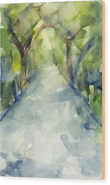 Path Conservatory Garden Central Park Watercolor Painting Wood Print by Beverly Brown #conservatorygarden