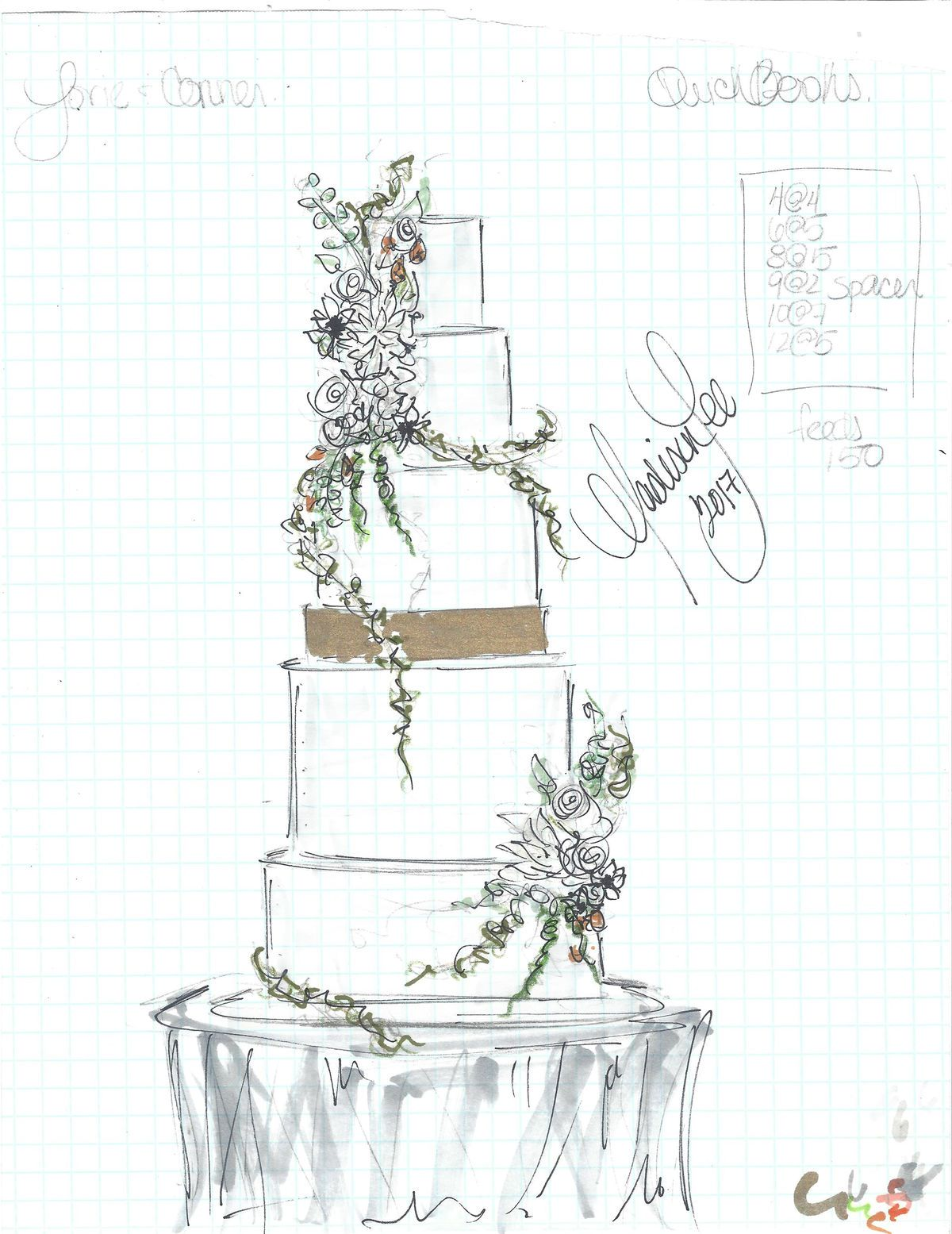 The Bakers Elevating Cakes To An Art Form Cake Sketch Wedding