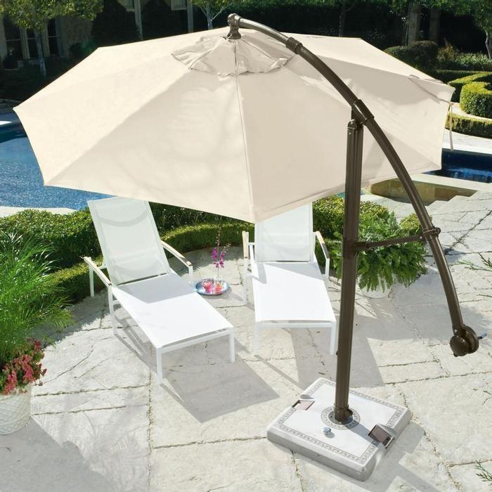 Cantilever Umbrella   Brookstone Creates A Large Area Of Shade And Moves To  Follow The Sun