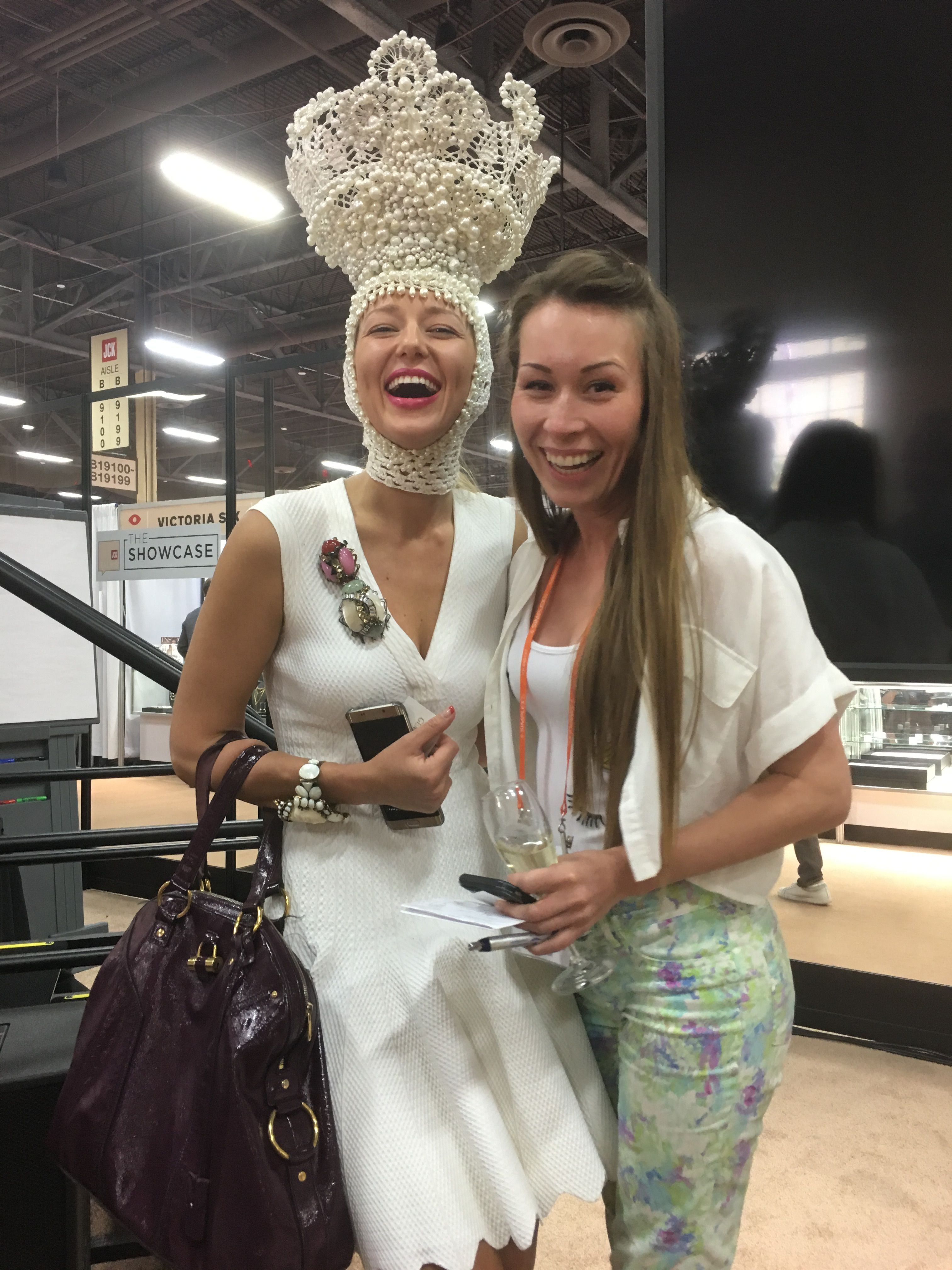 With Gemologue's Lisa Urla and her head gear at the JCK Las Vegas