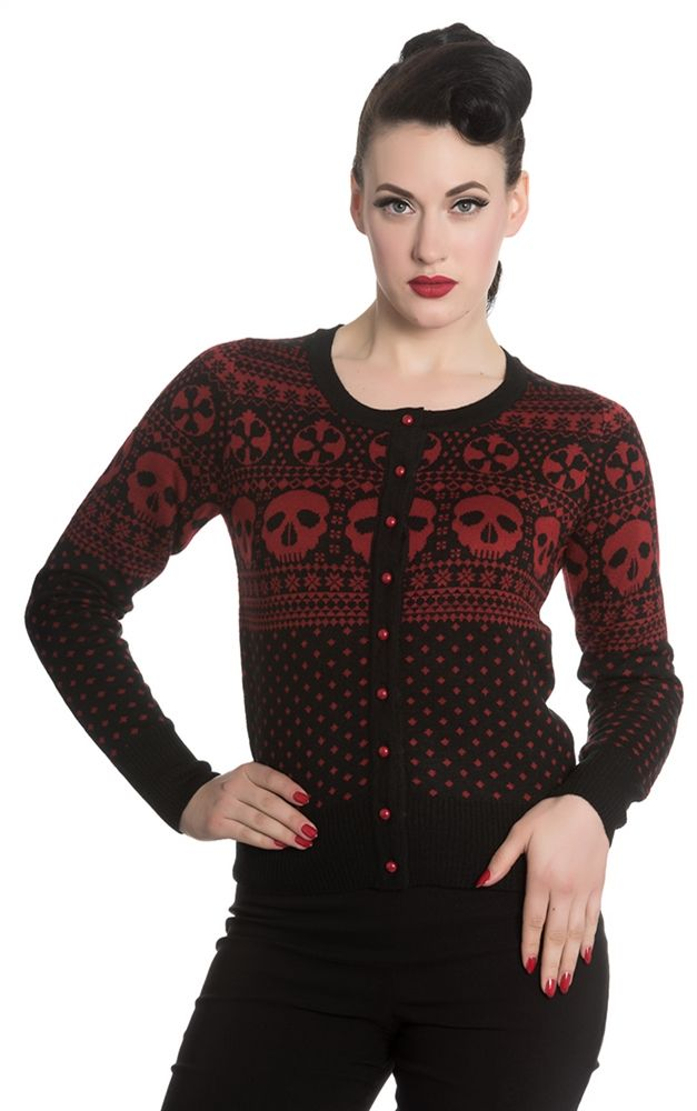 9a97c240a73 Hell Bunny black Clara Cardigan with red jacquard skull print front Mantel
