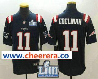 cca0fd9d2 Men s New England Patriots  11 Julian Edelman Navy Blue 2019 Super Bowl  LIII Patch Super Bowl LIII Patch Color Rush Stitched NFL Nike Limited Jersey
