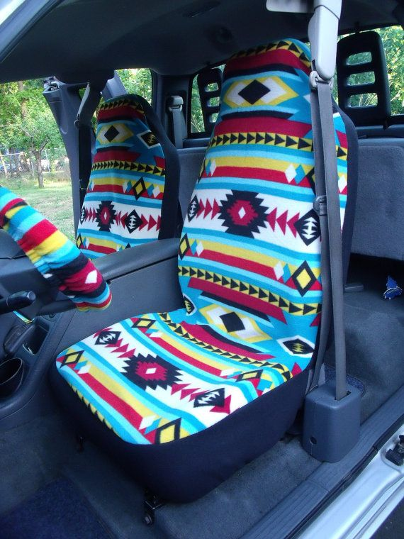 1 Set Of Bright Southwest Print Seat Covers And By