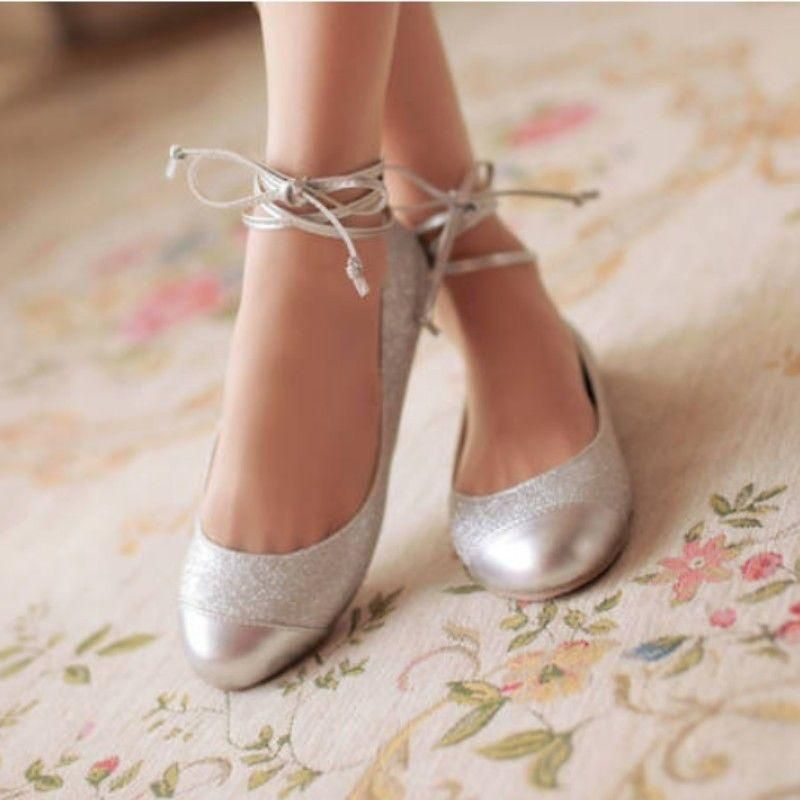 Princess New S Ankle Strap Ballet Flat Loafers Shining Dance Shoes Stry Wedding Flatssilver