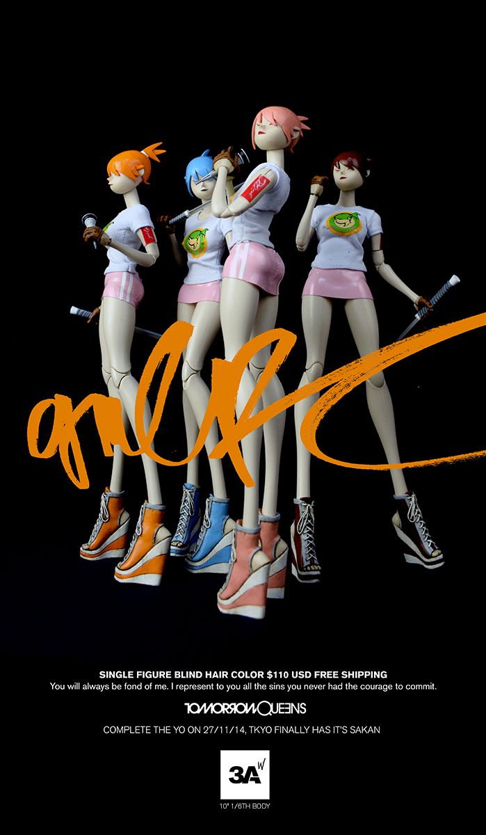 """Tomorrow Queens Girl R/C (10"""" tall 1/6th scale body) tomorrow at Bambalandstore (November 27th 9:00AM HK time). Single figure blind box $110 free shipping. 3AA 5pack (all hair colors) and Shadow RC $520 free shipping. #threeA #AshleyWood #Worldof3A #Popbot #TomorrowQueens #Bambalandstore #artpiece #toy #actionfigure #toyplanet #toycommunity #toys #hobby #toycollector #art #collectibles #vinyl #designertoys #toyphoto #toyphotography #collecting #toylife #onesixth #onesixthscale"""