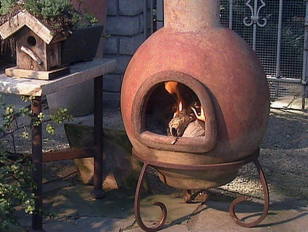 Clay Chiminea Iron Stand Wood Burning Patio Fireplace Ideas