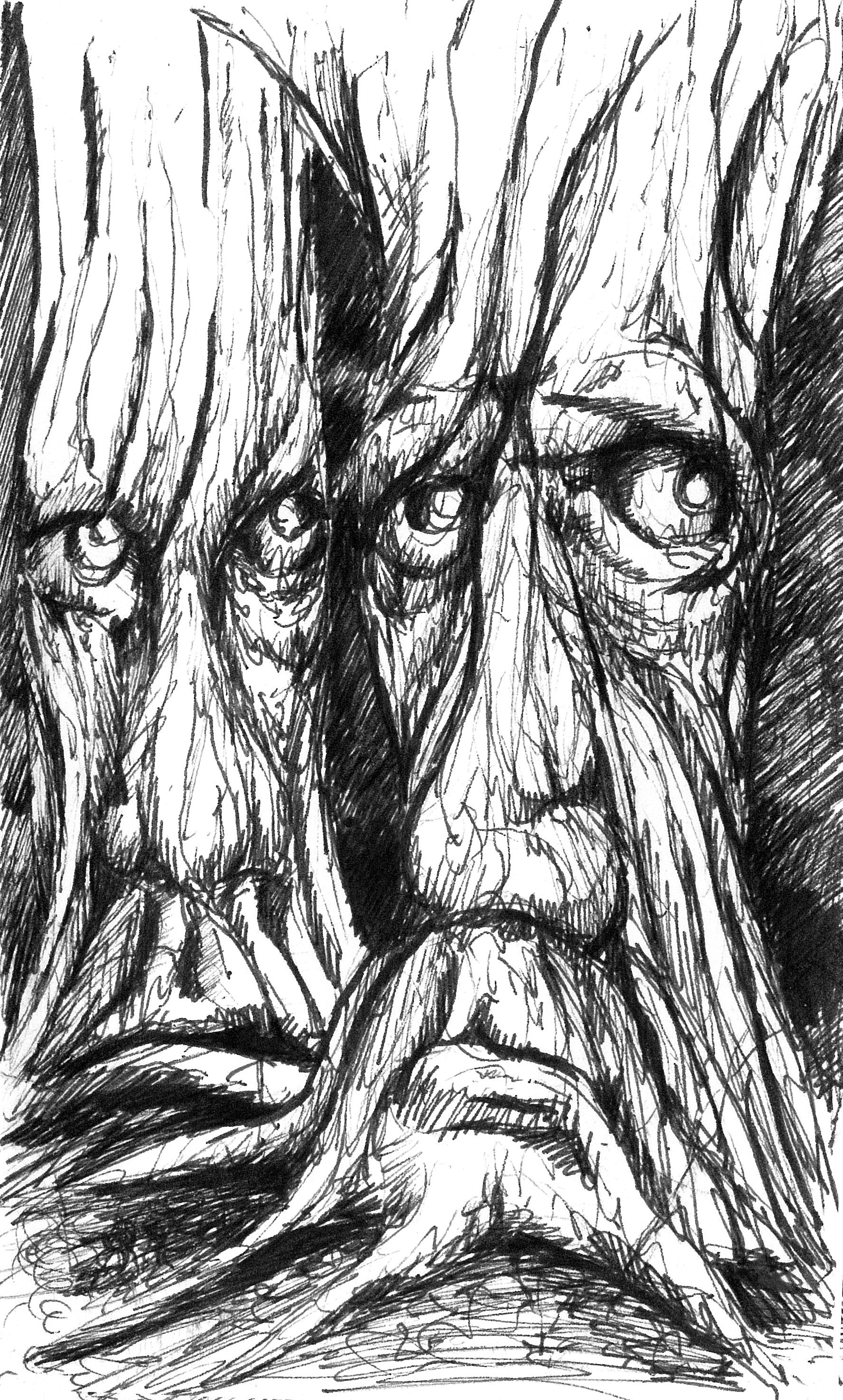 Old men of the forest are not happy, post it note sketches