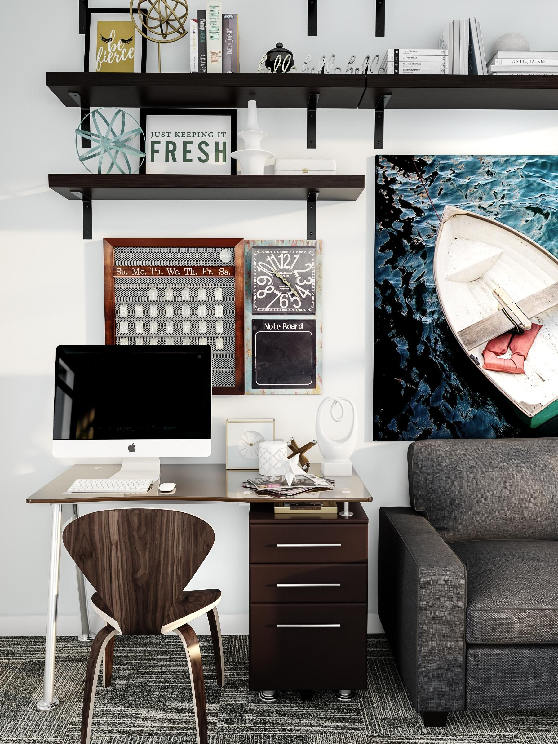 Set aside a space for your desktop. This home office nook