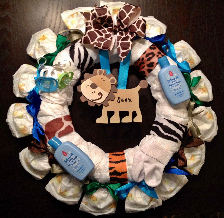 Personalized diaper wreath baby shower gift custom decoration personalized diaper wreath baby shower gift custom decoration blue green jungle animal safari negle Gallery