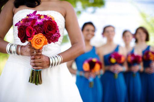Indian wedding, blue bridesmaid dresses