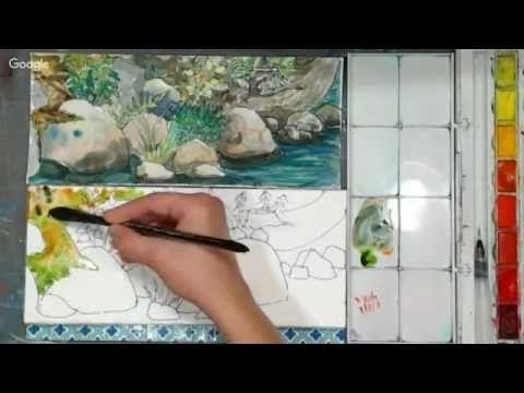 Stones Rocks And Reflections Watercolor Painting By Rukiye Garip