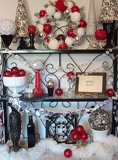 black white and red christmas decor