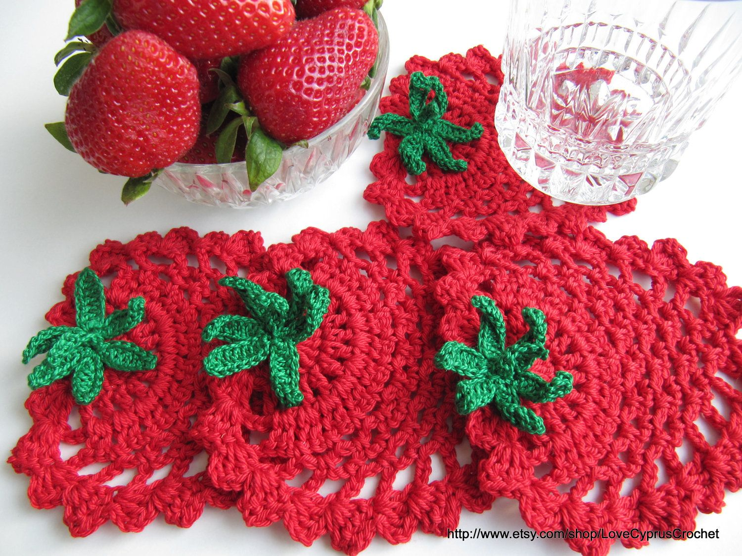 INSTANT DOWNLOAD PDF Crochet Pattern Red Strawberry Coaster, Easy ...