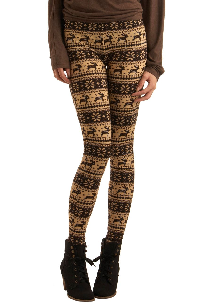 517baaa7b6e787 Deer Me Out Leggings in Bark by Ryu - Brown, Cream, Print with Animals,  Casual, Fall, Winter, Knitted, Mid-length, Holiday Sale, Top Rated