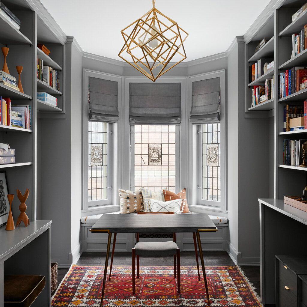 Modern Grey Office, Hyde Park House — Jen Talbot Design, Chicago