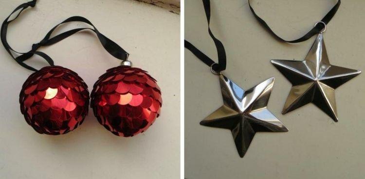 Christbaumkugeln Metall.Christbaumkugeln Aus Metall Plättchen Und Metall Sterne