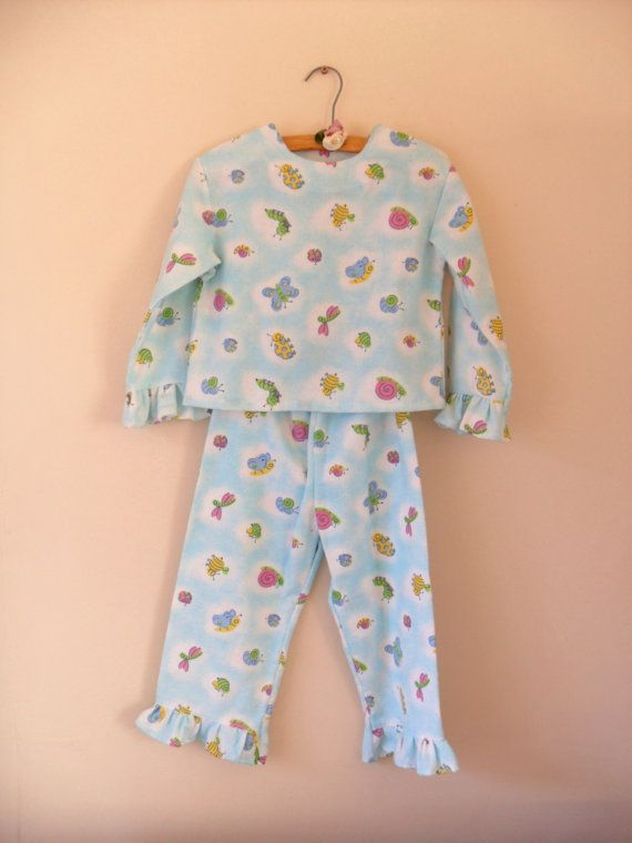 94836c01a76e6 Turquoise winter flannel pyjamas, for girl toddlers, 1 to 2 years ...