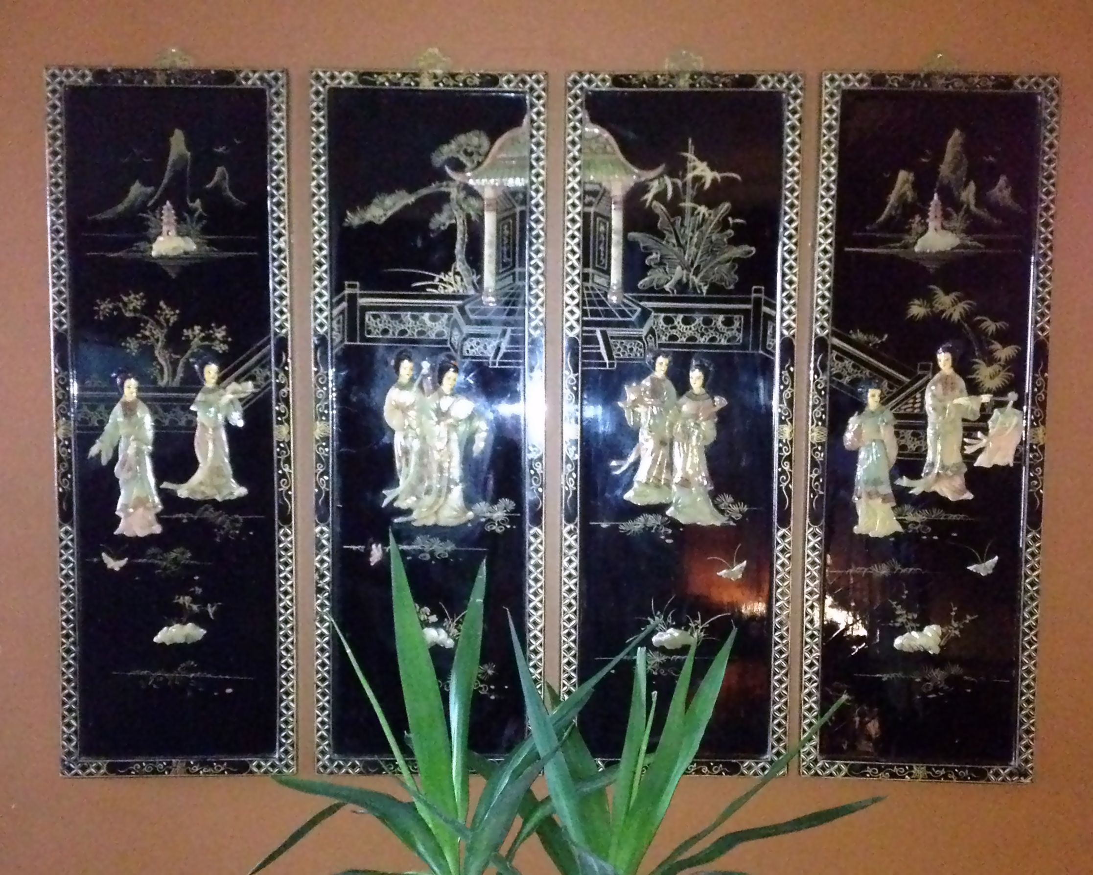 Oriental Black Laquer Screen Panels With Either Jade Or