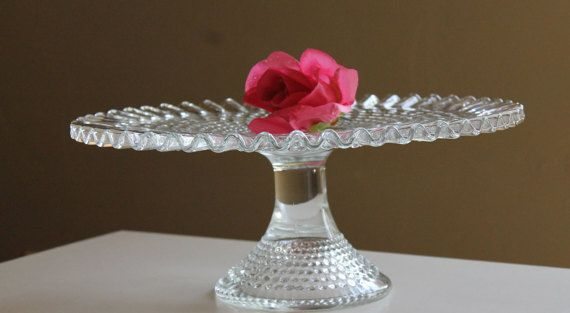 Fenton Hobnail Cake Stand Pedestal Cake Stand Hobnail by Revive58 $79.50
