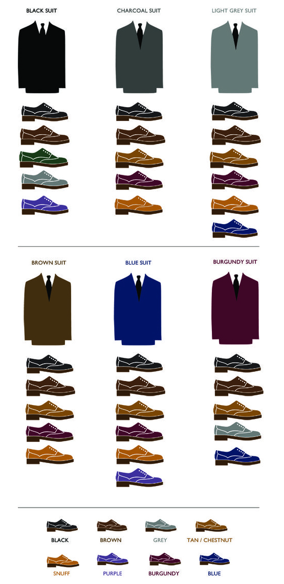 Suit Shoe Color Matching Chart Fashion And Drawing Reference