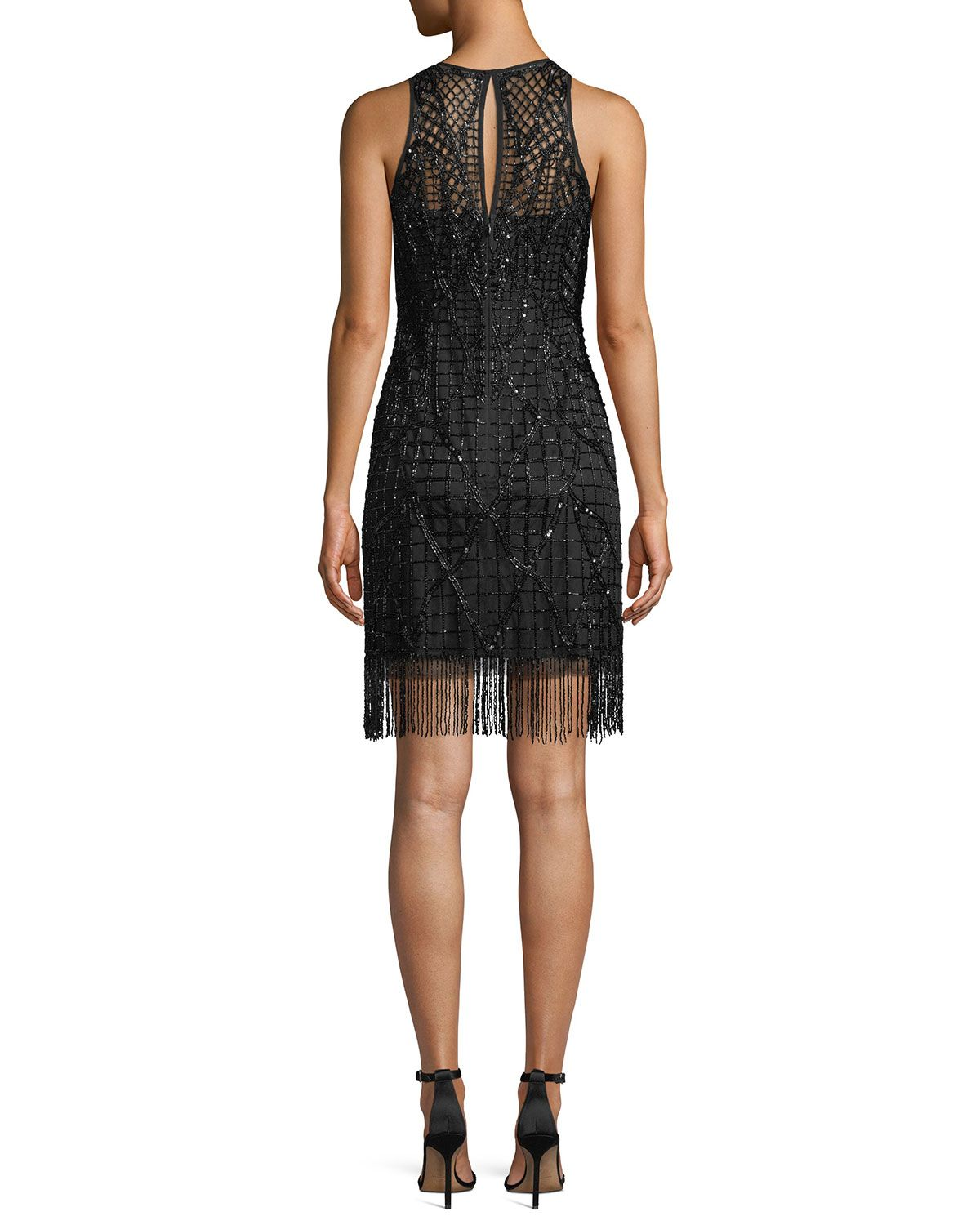 3af019725cad8 Aidan Mattox Sleeveless Little Black Cocktail Dress w  Beading   Fringe