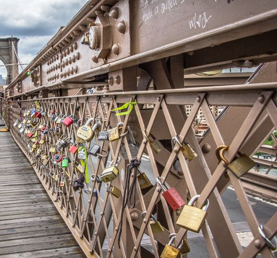 """Get 15% off with code: Pin15 TITLE: Love Locks Love Locks - Photographic Print - The Brooklyn Bridge in New York City is full of padlocks signifying commitment between two lovers. Couples travel from around the world to walk the bridge and """"lock"""" their love into this historic bridge."""