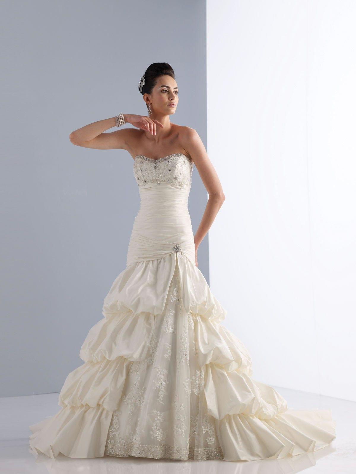 Blush mermaid wedding dress  Taffeta Softly Curved Neckline Asymmetrically Dropped Bodice Aline