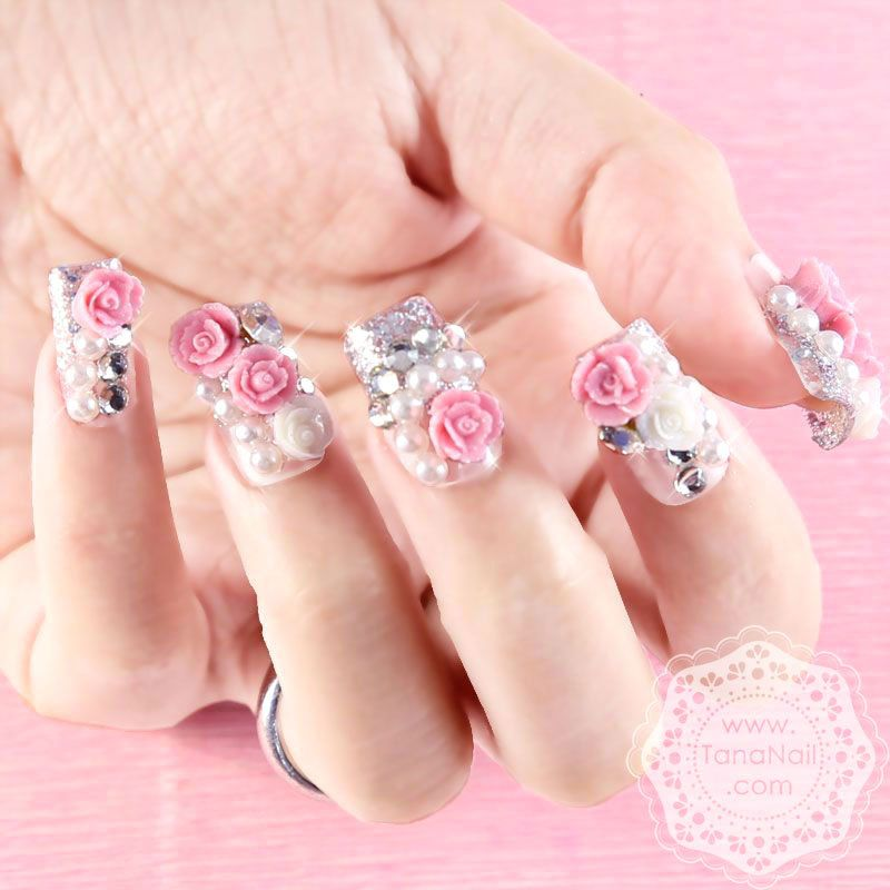 Japanese 3D Nail Art, Press On Nails, False Nails - White Pink Rose ...