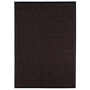 brown and black saddlestitch indoor/outdoor rug, 8.5 x 13 ft.