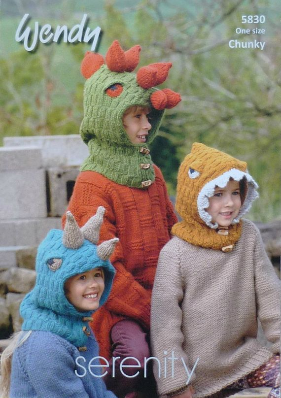 Knitting pattern for Childrens Dinosaur Hats in Chunky by Wendy (No ...