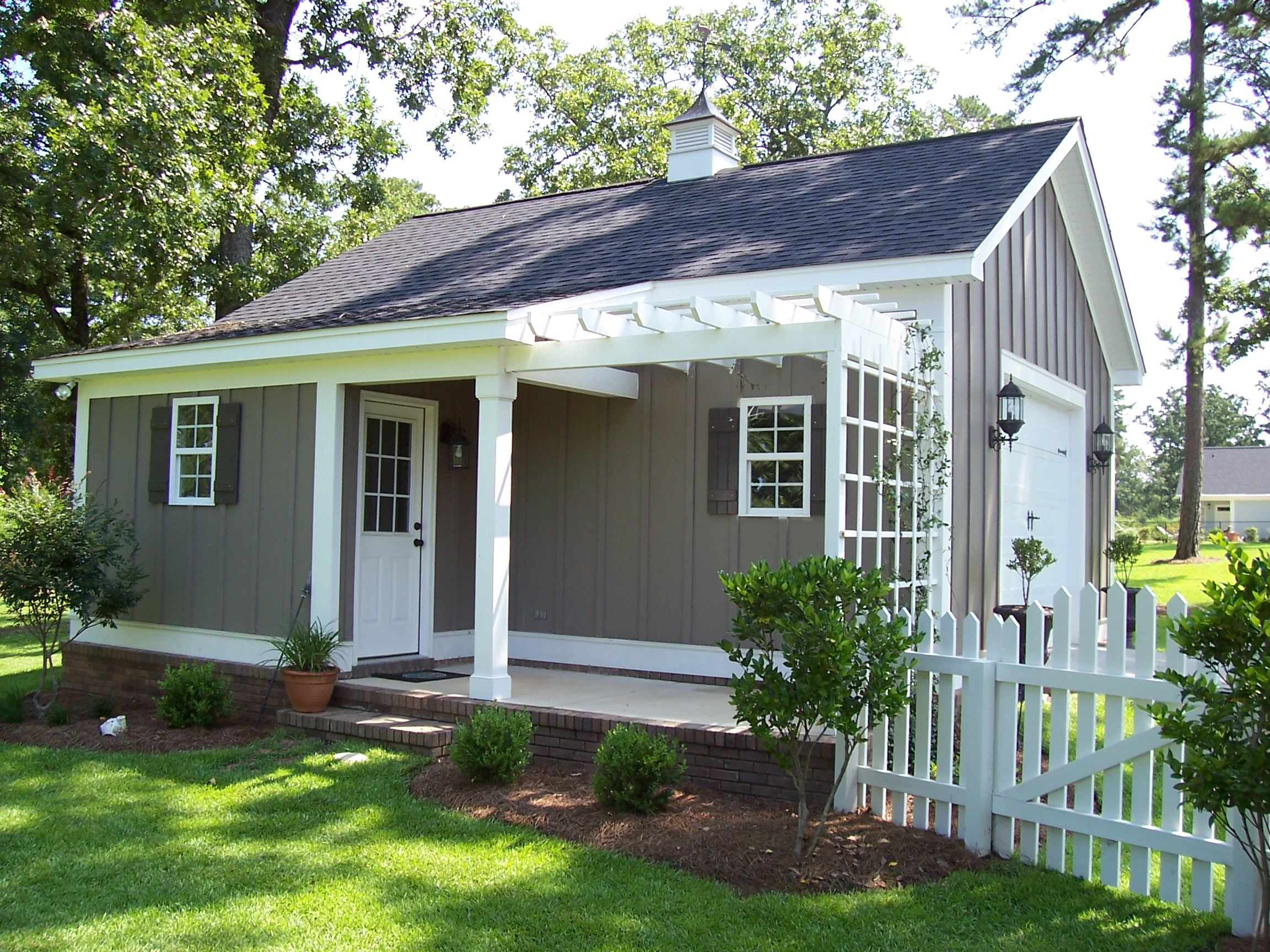 custom built garden shed workshop freestanding garage with pergola covered porch lee - Garden Sheds Georgia