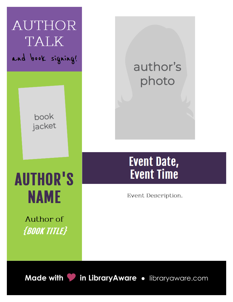 Promote Your Author Event With This Flyer Template Flyer Book Display Library Readadv Madeinlibraryaware Author Event Book Signing Author