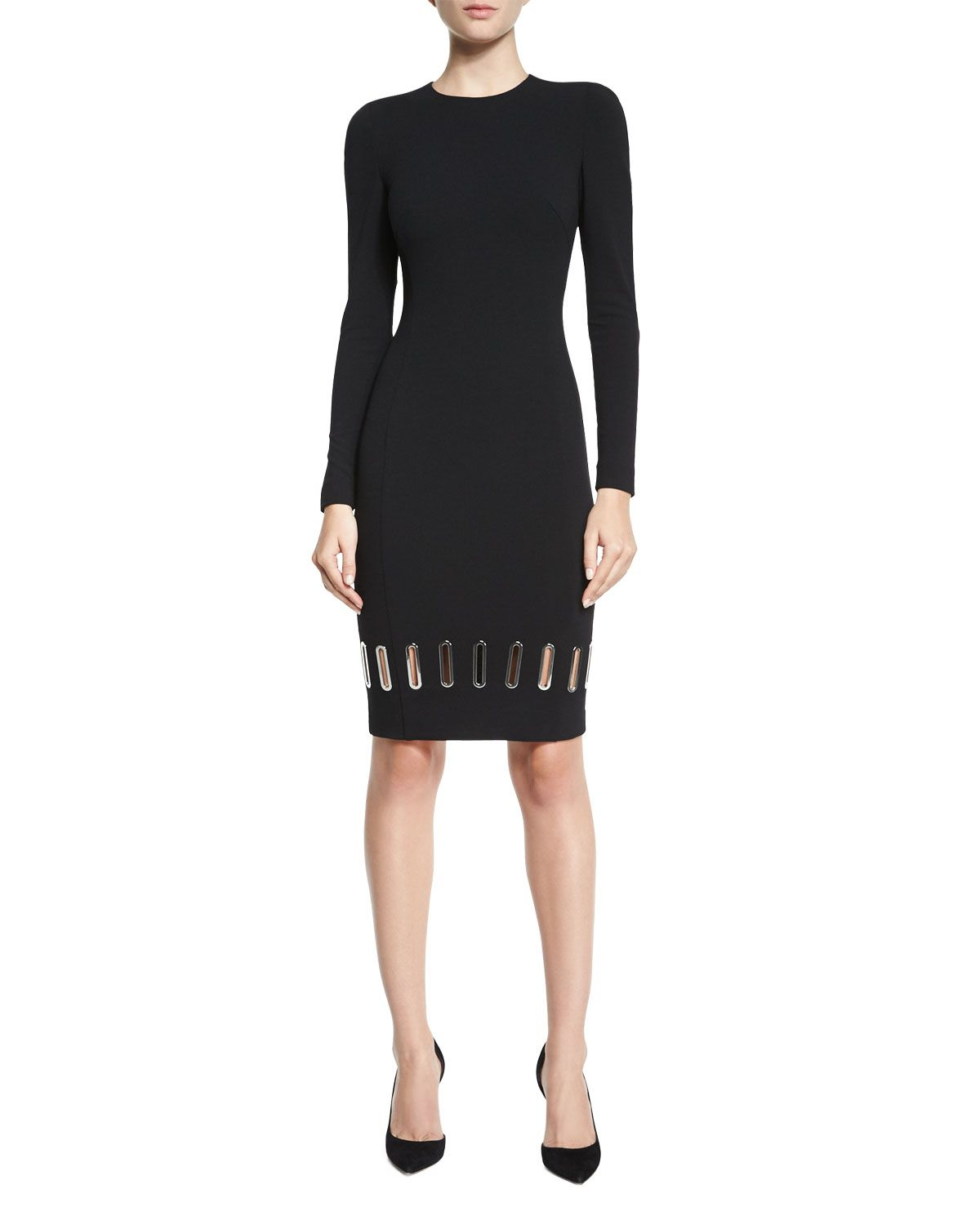Long Sleeve Metal Eyelet Sheath Dress Black Versace Collection