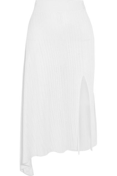 CUSHNIE ET OCHS Asymmetric ribbed-knit midi skirt. #cushnieetochs #cloth #skirts