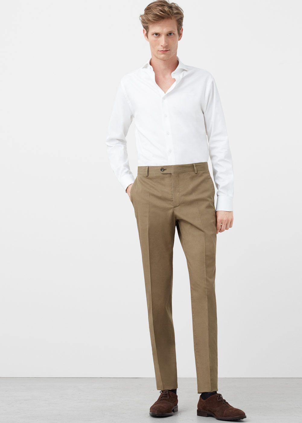 Pantalón traje slim-fit algodón - Hombre  a3acc25a4e6