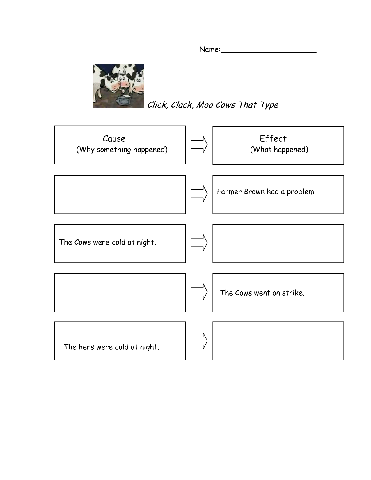 Click Clack Moo Worksheets