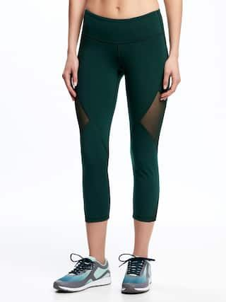 418e34bfda Go-Dry Mid-Rise Compression Mesh-Panel Crops for Women | Old Navy ...