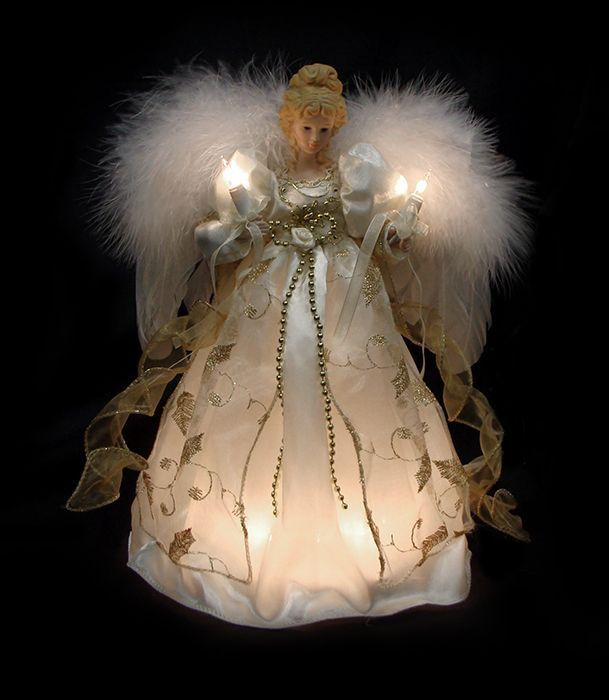 Black Angel Tree Toppers Lighted | 12 Lighted Cream Gold Angel