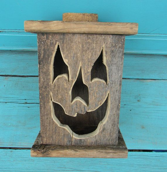 Wood Lantern Made With Rustic Worn Wood Jack O Lantern For Halloween Fall Art Decor For The Patio Or Front Porch By Artist Bill Miller Halloween Wood Crafts How To Make Lanterns Autumn