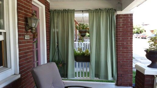 Privacy Screen On My Front Porch Using Curtains Weigh Down The Bottom Of Curtain For Wind