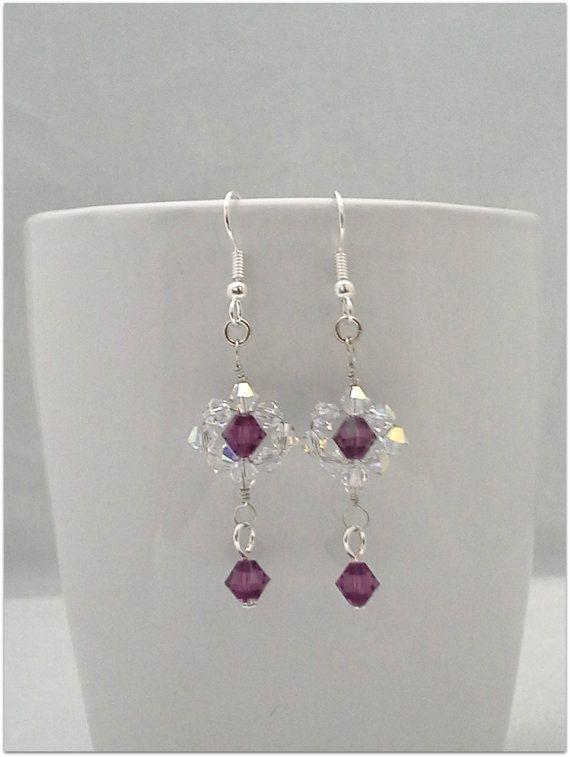 Amethyst purple crystal dangle earrings by ToadsLilyPondJewelry, $19.99