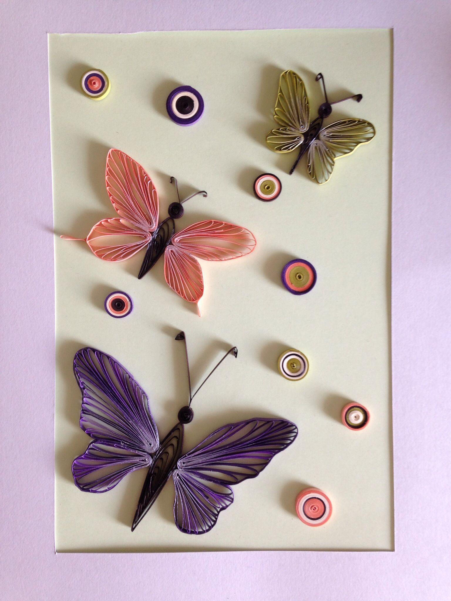 Днем рождения, открытка из квиллинга бабочку
