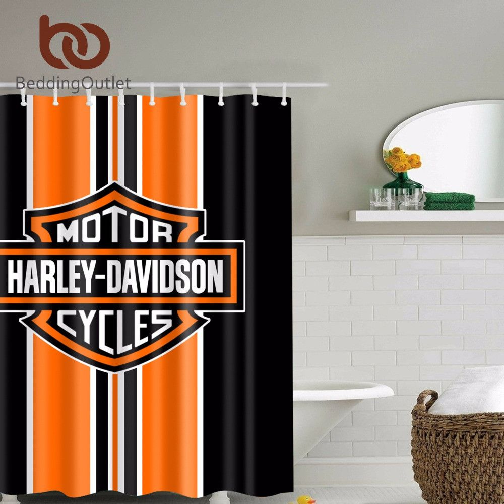 Harley Davidson Waterproof Bathroom Shower Curtain Harley