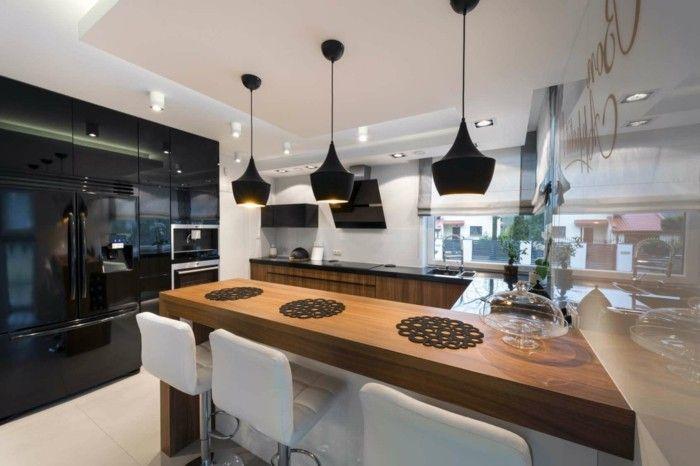 wohnideen küche u förmige küche mit schwarzen pendelleuchten ... - U Förmige Küche