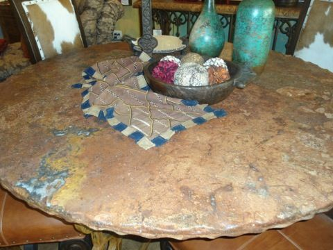Rustic Furniture Mexican Marble Dining Table Cierra Interiors