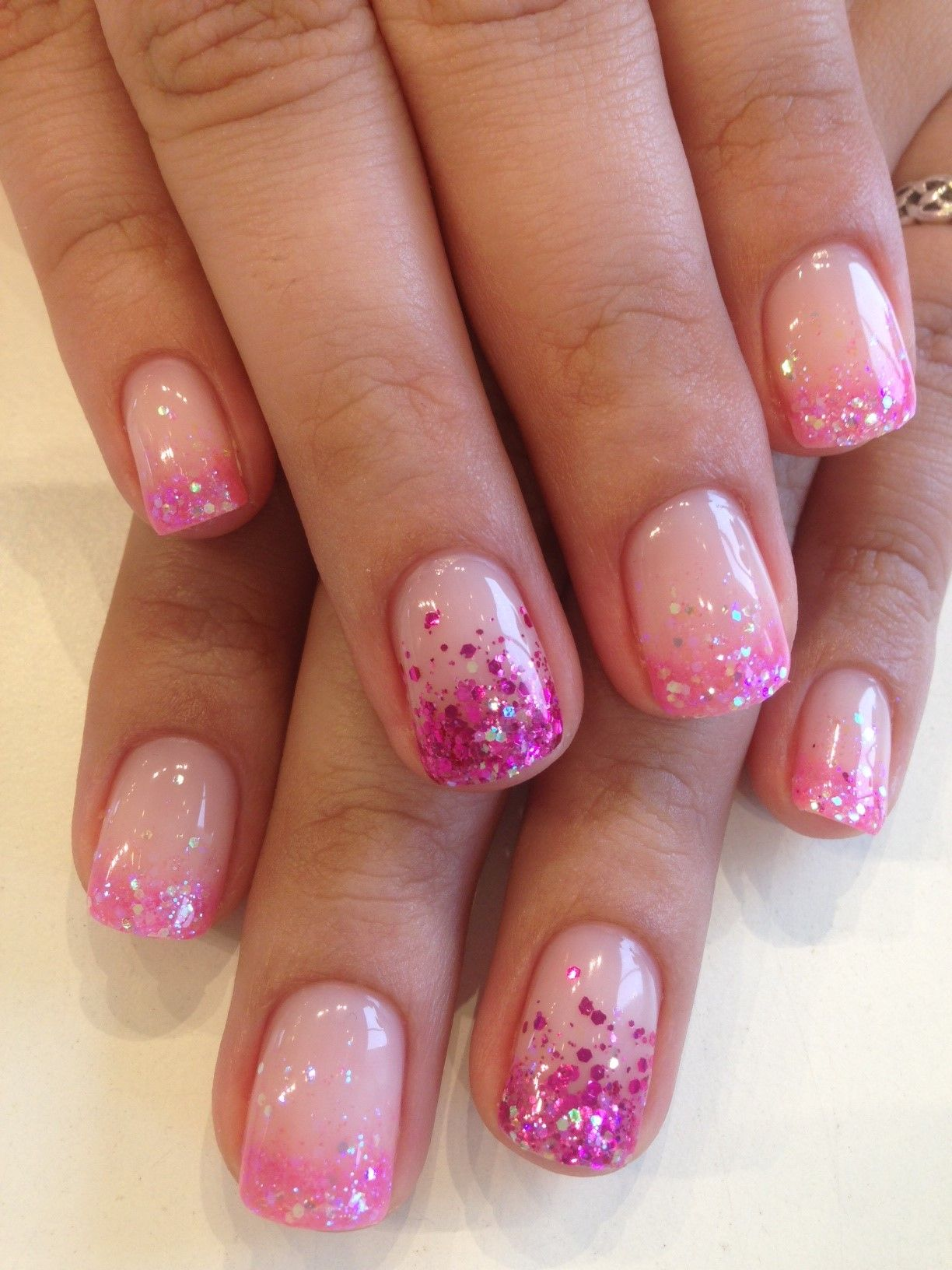 pink glitter french tips nails