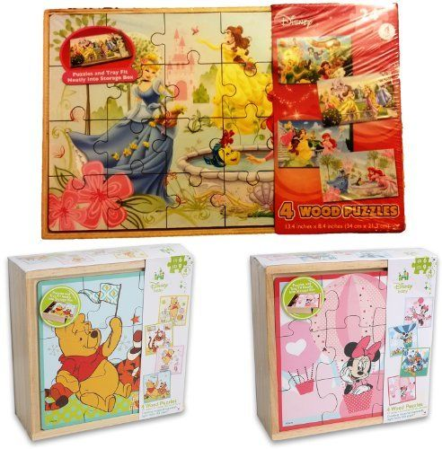 Disney Baby 4 Wooden Puzzles, Winnie The Pooh 4 Wooden Puzzles, Disney Princesses & Fairies Wooden Puzzles (311):Amazon:Toys & Games