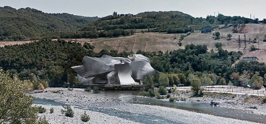 deconstructionist concept of architecture on the river by Nicolò Clerici