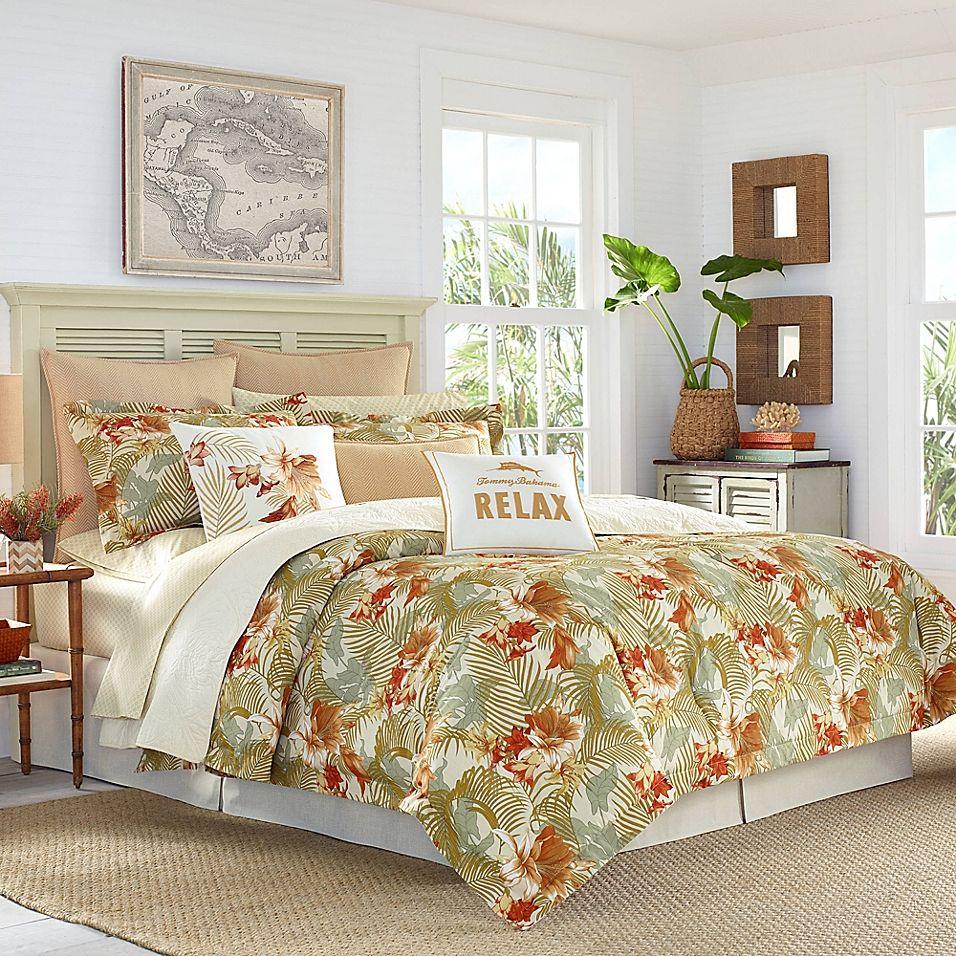 Tommy Bahama Loredo Garden Comforter Set Comforter Sets Orange