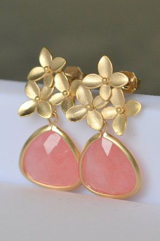 Coral Pink Teardrop and Gold Cherry Blossom Flower